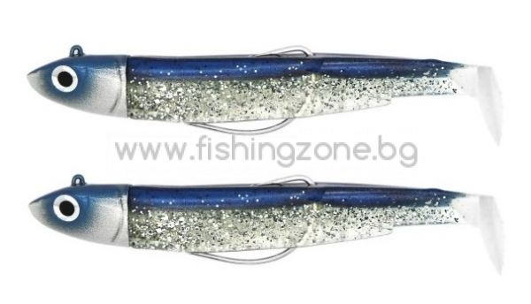 Fiiish Black Minnow No2 Double Combo: 2 Jig Heads 10g + 2 Lure Bodies 9cm - Barracuda Tour